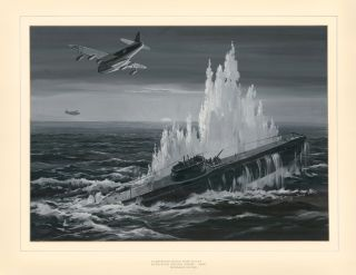 Sunderland Flying Boat R.A.A.F. Attacking Italian U Boat, 1942. Roland Davies