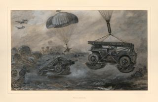 Landing anti-tank guns and jeeps by parachute. Bryan de Grineau.