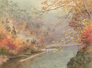 Fishing on a river in autumn. Fukutaro Terauchi
